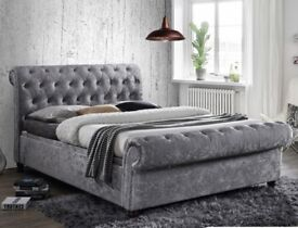 Brand new Sleigh bed 3ft 4ft 4ft6 5ft 6ft crush velvet chenille leather!! Free delivery!!