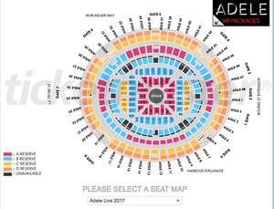 2 x Adele Ticket - 19/03 -  B Reserve Coconut Grove Darwin City Preview