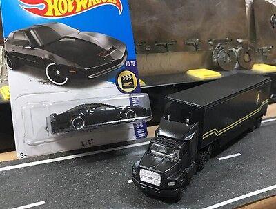 Custom Knight Rider Semi Truck AND New ~In Package~ Hot Wheels KITT Set