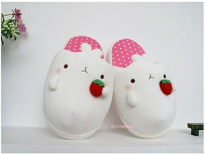 Molang Women Soft Slippers Shoes Bedroom Indoor US7 240mm Bunny Cute Kawaii Pink
