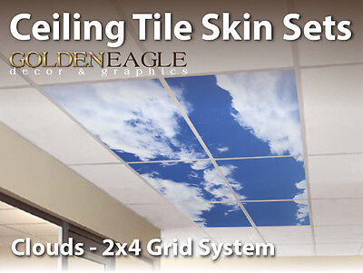 Ceiling Tile Skin Clouds Kit 2x4 Grid Glue Up Decorative Panel Cover Wrap Sky