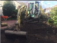 Dig grab and go digger hire groundwork services demolition mini digger & driver hire