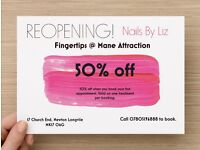 50% off first appointment booked for nail treatments..including gel mani and pedi