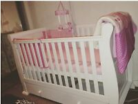 Girls cot bedding & cot mobile