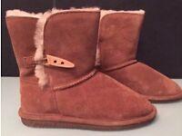 Youths 'BEARPAW' Suede Sheepskin Boots Size UK 3 BNWT Tan