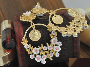 Gold Chunky Earrings Antique Cameo Baroque Style Flower Cluster Roman Coin