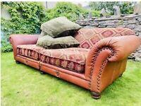 Tetrad Eastwood Grand Sofa in Buffalo Leather Hide and Kilim Salmon Fabric Sofa