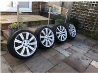 "22"" Land Range Rover Stormer Turbine Alloy Wheels Alloys With Tyres 5x120"