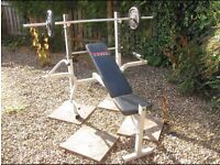 York weight bench with leg and fly attachments