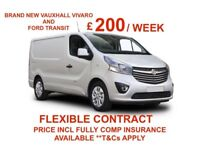 BRAND NEW VANS AVAILABLE TO HIRE SWB. VAUXHALL VIVARO, FORD TRANSIT, COURIER OR SELF DRIVE HIRE