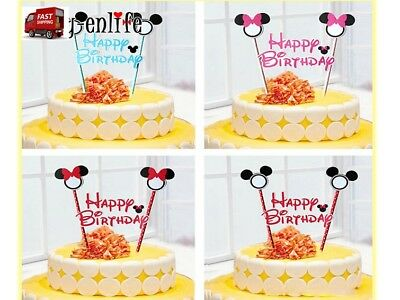 Mickey & Minnie Mouse Birthday cake Topper banner  Theme party supply