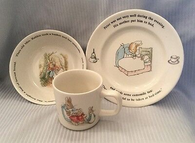 "3 PC. LOT WEDGWOOD ""PETER RABBIT"" CHILD'S SET CUP, PLATE, BOWL England"