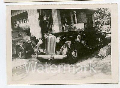 Vintage B/W photo car automobile 1937 Packard Convertble Coupe V-12