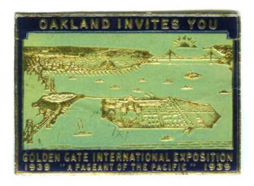 1939 GGIE OAKLAND INVITES YOU to SAN FRANCISCO GOLDEN GATE EXPO~WORLD FAIR DECAL