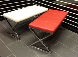 Modern dining bench chrome base hallway ottoman shop