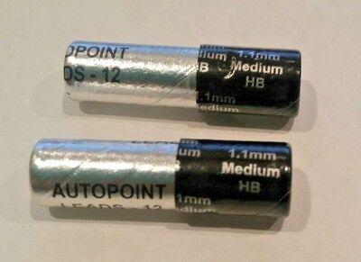 2 Tubes Autopoint Lead Pencil Refills 1.1mm Black 24 Sticks