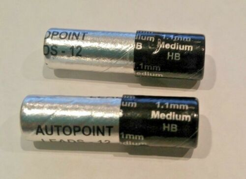 2 TUBES AUTOPOINT LEAD PENCIL REFILLS, 1.1MM BLACK (24 STICKS)