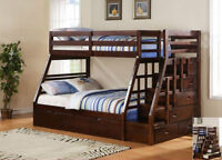 SOLID WOOD STAIRCASE BUNK BED SINGLE OVER DOUBLE..$799