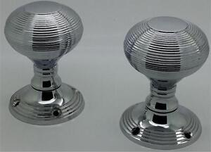 POLISHED CHROME REEDED MORTICE DOOR KNOBS