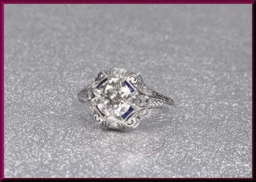 Edwardian Filigree Art Deco Old European Cut CZ & Blue Sapphire Gorgeous Ring