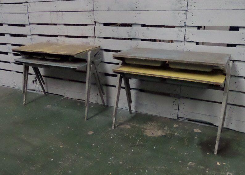 Vintage Childs Esavian School Desk Table Metal Legs Stackable Uk Delivery