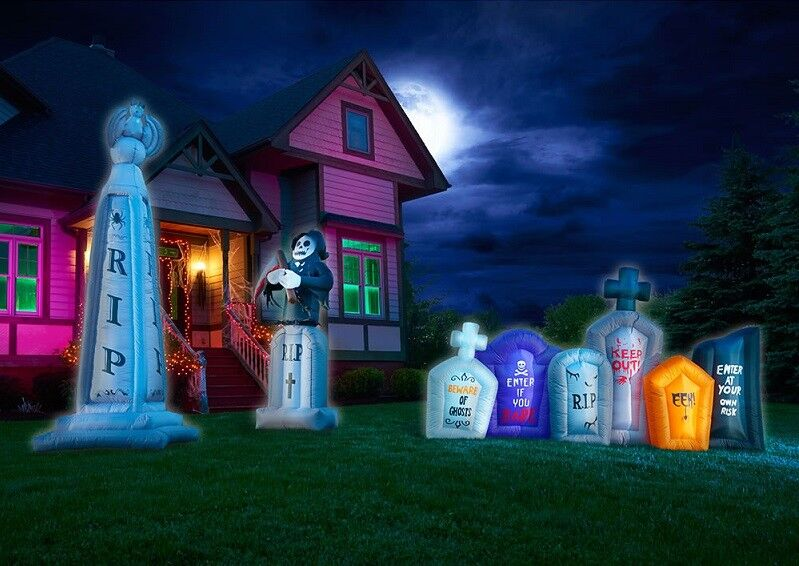Inflatable Halloween Graveyard Set Outdoor Lighted Creepy Lawn Decorations Sale