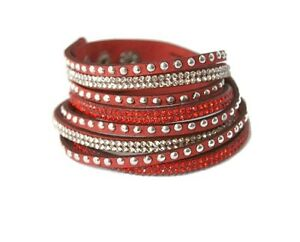 Faux Leather Wrap Bracelet Bangle Wristband Cuff Rhinestone Crystal Fashion Punk