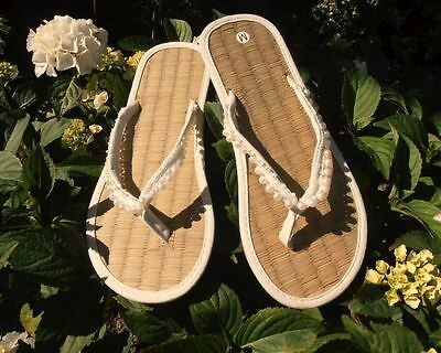Ladies Straw Flip Flops Ivory Colour with Pearl Trim Ideal for Wedding - Flip Flops For Weddings