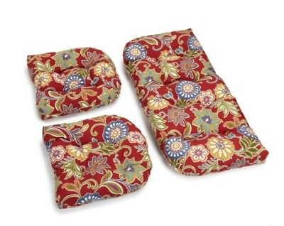 Outdoor All Weather 3pc Wicker Settee Chair CUSHION SET Red Multi Floral ()