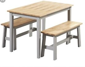 Nearly New Chiltern Solid Hardwood 115cm Oak and Grey Table Set with two Benches