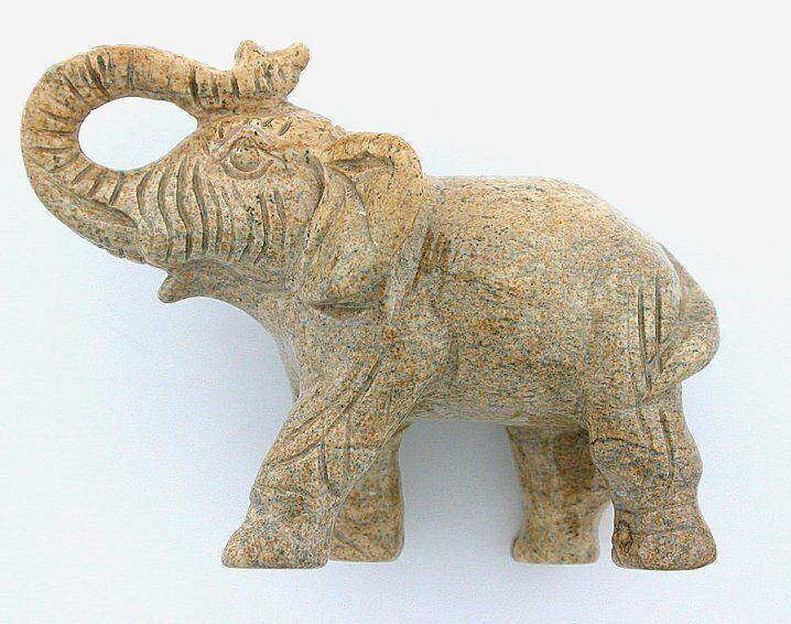 Carved Scene Picture Jasper Elephant Carving Gem Stone Gemstone ebs5746