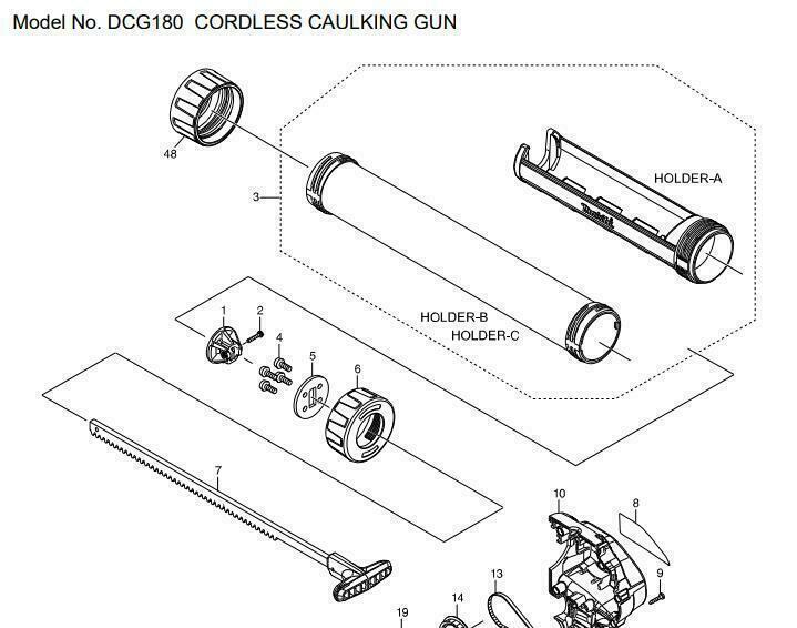 Makita Caulking Gun Part No 7 For 600ml Sausage - Japan Brand