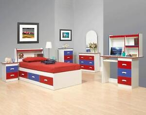 BRAND NEW KIDS BEDROOM SETS!!!SINGLE BED,DRESSER,CHEST,1-NIGHT TABLE,HEAD BOARD BOOK CASE,MIRROR,COMPUTER TABLE!!!