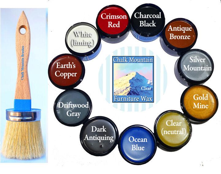 Chalk Furniture Paint Brush, medium size & 4 oz sample wax.C