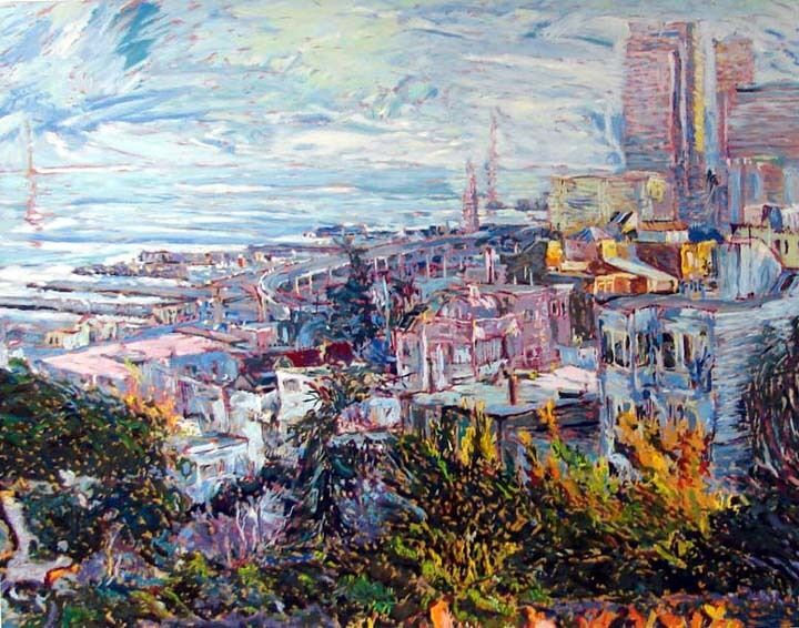 Marco Sassone View With Bay Bridge 1987 Hand Signed Art Submit An Offer