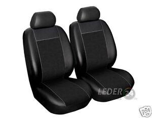 2x-Funda-De-Asiento-Cuero-Artificial-Terciopelo-Negro-Universal-VW-PASSAT-B4