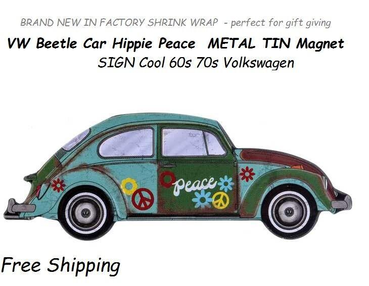 Details About New Vw Beetle Car Hippie Peace Metal Tin Magnet Sign Vintage 60s 70s Volkswagen