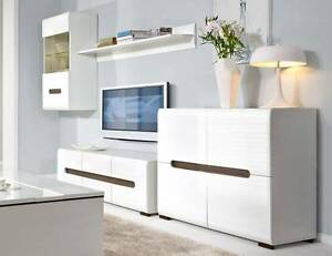 4 pce Furniture Set White Gloss A2 Malaga Swan Area Preview