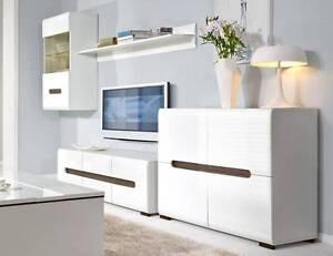 White Gloss Unique 5 pce living room set Malaga Swan Area Preview