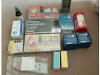 SELECTION OF MANICURE, NAIL TECH ITEMS FOR ACRYLICS, TIPS, FORMS, ACTIVATOR, SILK ETC