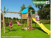 JUNGLE GYM PLAYFRAMES CLIMBING FRAMES SWINGS AND SLIDES ROPE LADDERS ROCK WALL SAND PIT