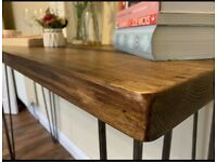 Bespoke Table Top. Dining table. Industrial rustic style. Dark light oak solid wood