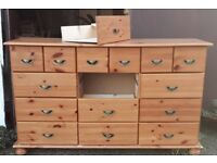 Pine Chest Of Fifteen Drawers In Need Of Repair