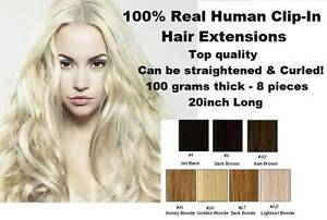 Full Head Clip In Hair Extensions Real Human Hair 20inch 100grams St Marys Penrith Area Preview