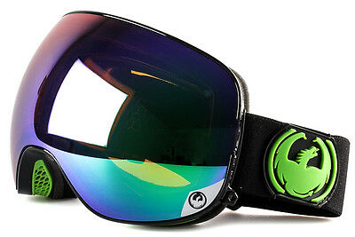 NEW 2016 Dragon X2 Goggles-Jet Black-Green Ion+Yellow Blue-SAME DAY SHIPPING!
