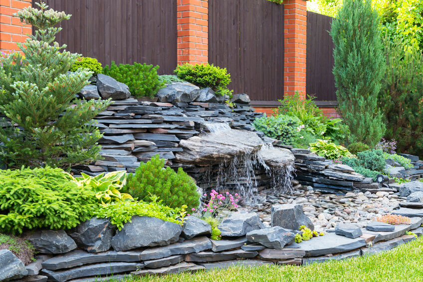 How to build a waterfall fountain ebay for Build a simple backyard waterfall