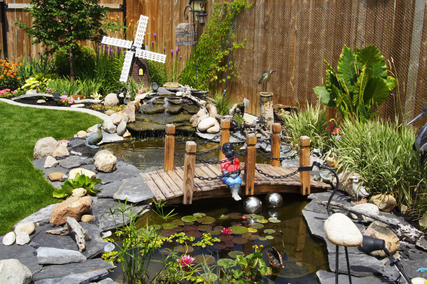 How to make yard ornaments ebay for Decorative fish pond bridge