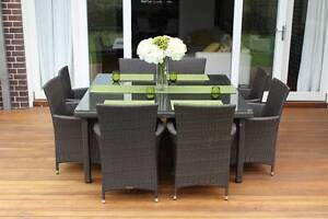WICKER DINING SETTING, 8 SEAT SQUARE, B/NEW,EUROPEAN STYLING Modbury Tea Tree Gully Area Preview