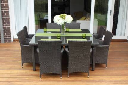 WICKER DINING SETTING, 8 SEATS-SQUARE, EUROPEAN STYING,BRAND NEW