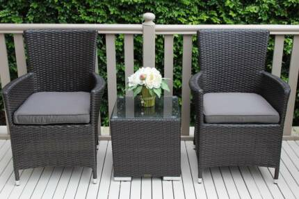 Wicker Outdoor 3 Pc Patio Setting European Styling B New
